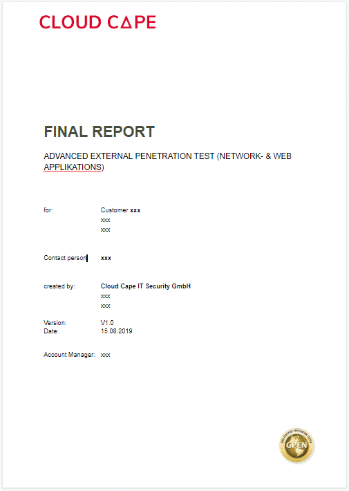 The picture shows the cover of a penetration test report